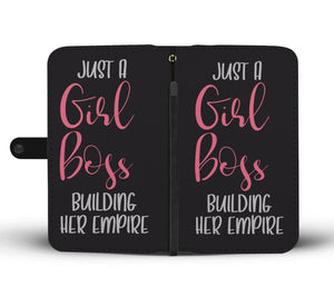 Just A Girl Boss Phone Wallet Case Pink Design