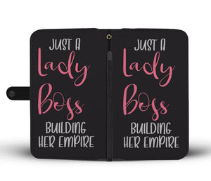 Just A Lady Boss Building Her Empire Wallet Phone Case Pink Design