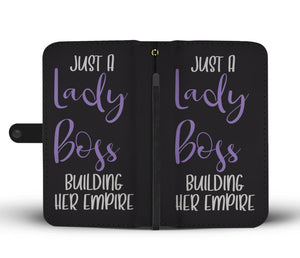 Just A Lady Boss Building Her Empire Wallet Phone Case Purple Design
