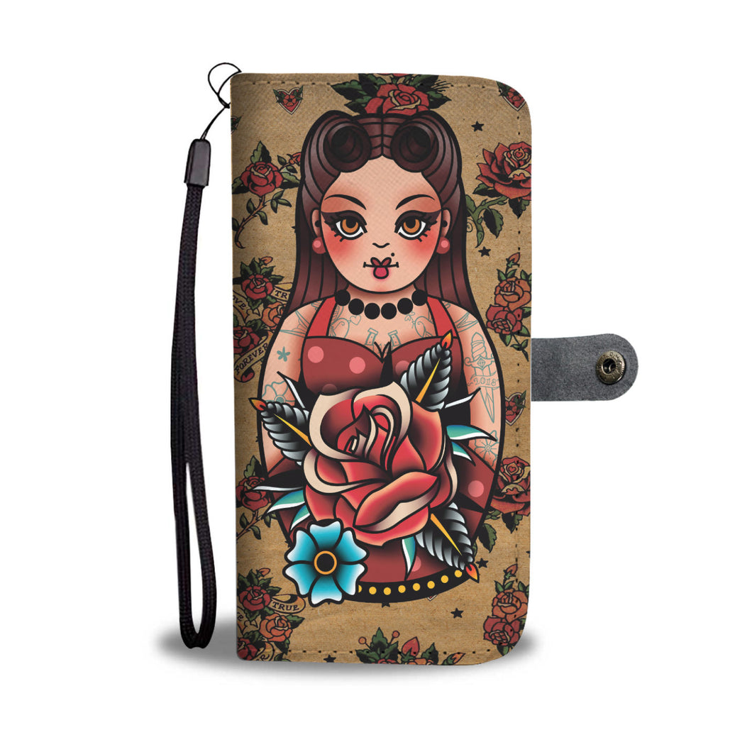 Traditional Tattoo Style Rockabilly Doll Wallet Phone Case Roses