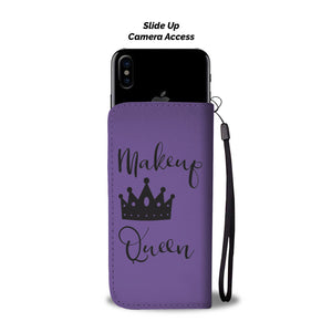 Makeup Queen Wallet Phone Case Purple and Black