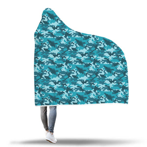 Teal Blue Camouflage Camo Hooded Blanket