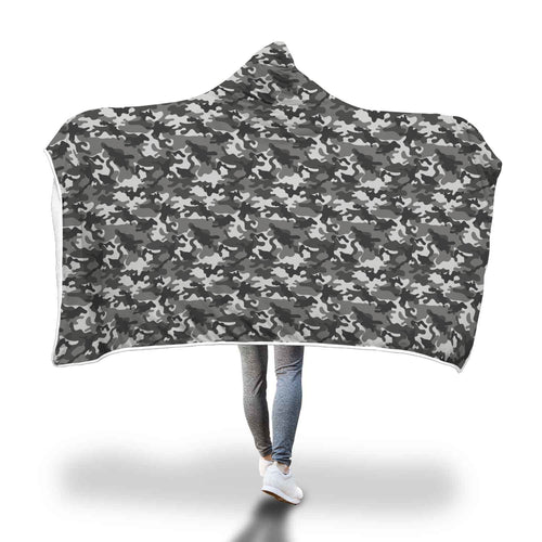 Black Grey Camouflage Camo Hooded Sherpa Lined Blanket