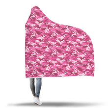 Pink and White Camouflage Hooded Sherpa Blanket Camo