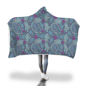 Colorful Paisley Pattern Hooded Sherpa Blanket