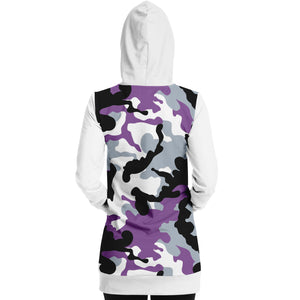 White and Purple Camouflage Longline Hoodie Dress With Solid White Sleeves, Pocket and Hood
