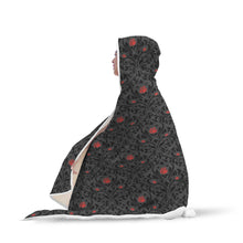 Gothic Rose Pattern Hooded Blanket