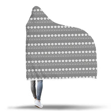 Fair Isle Charcoal Nordic Pattern Hooded Blanket Sherpa Lined