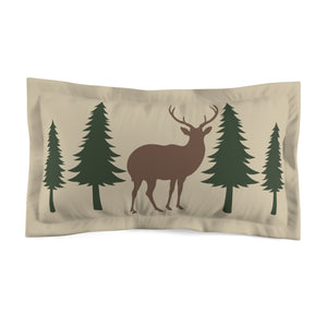 King Tan With Deer and Pine Trees Microfiber Pillow Sham