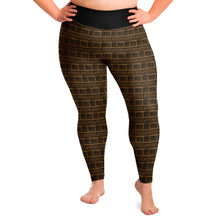 Load image into Gallery viewer, Brown and Black Ethnic Pattern Plus Size Leggings 2X-6X Squat Proof