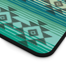 Load image into Gallery viewer, Serape Style Turquoise and Tan Desk Mat With Tribal Design Overlay Large