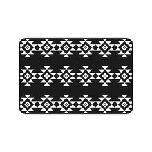 Load image into Gallery viewer, Black and White Desk Mat With White Tribal Design Ethnic Pattern