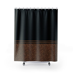Leopard Skin Print Contrast Pattern Design Shower Curtain Black and Brown