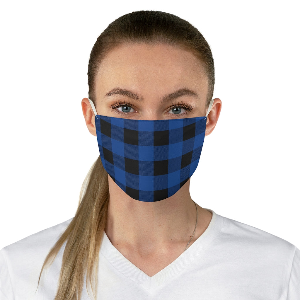 Dark Blue and Black Buffalo Plaid Printed Cloth Fabric Face Mask Country Buffalo Check Farmhouse Pattern