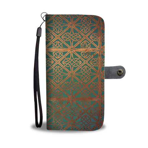 Celtic Knotwork Green and Copper Wallet Phone Case