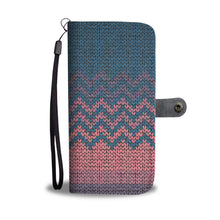 Wallet Phone Case Knit Design In Pink
