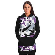 Load image into Gallery viewer, Purple and Black Camouflage Longline Hoodie Dress With Solid Black Sleeves, Pocket and Hood