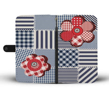 Quilt Patchwork Style Wallet Phone Case With Flowers
