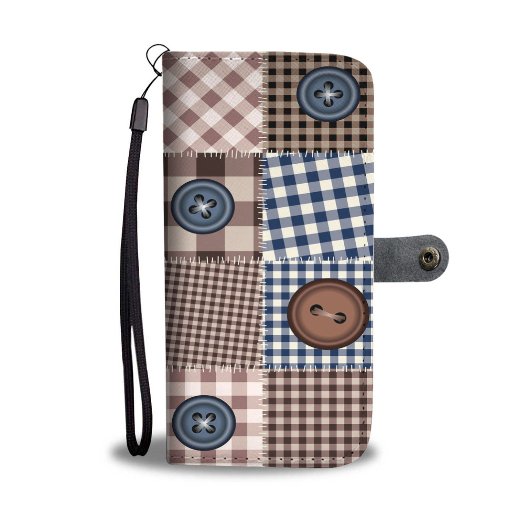 Quilt Patchwork Style Wallet Phone Case With Buttons