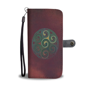 Celtic Spiral Design Phone Wallet Case In Red