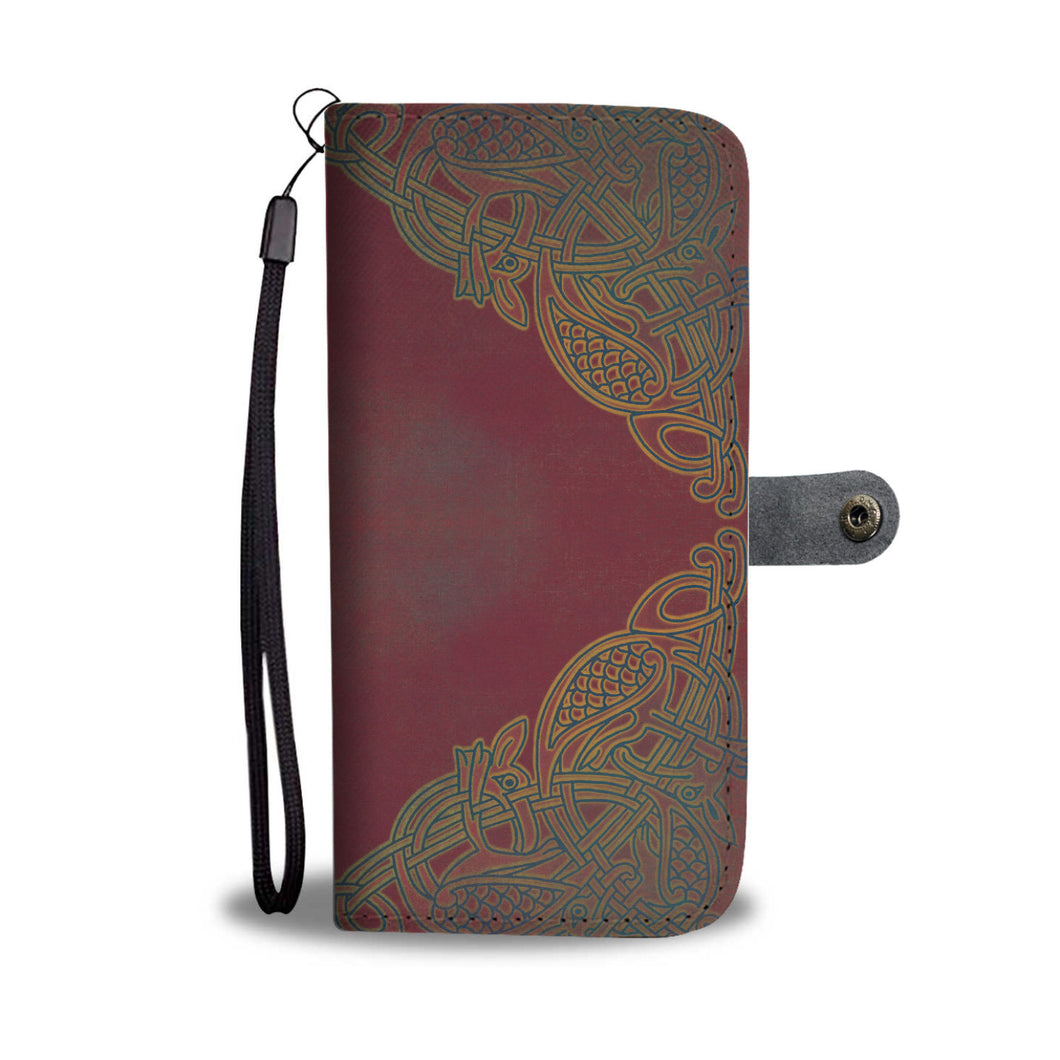 Celtic Bird Knotwork Phone Wallet Case