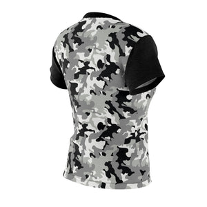 Camo Pattern Women's Tee Black, White and Gray Snow Camouflage With Contrast Sleeves