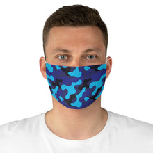 Load image into Gallery viewer, Blue Camo Printed Cloth Fabric Face Mask Colorful Blue and Black Camouflage