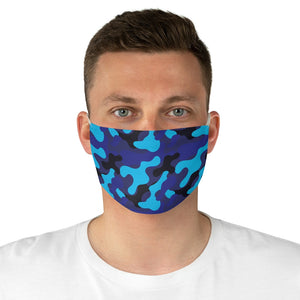 Blue Camo Printed Cloth Fabric Face Mask Colorful Blue and Black Camouflage