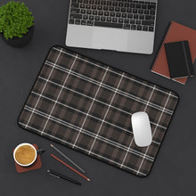 Load image into Gallery viewer, Brown and White Plaid Desk Mat For Laptop or Keyboard and Mouse