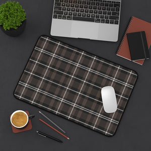 Brown and White Plaid Desk Mat For Laptop or Keyboard and Mouse