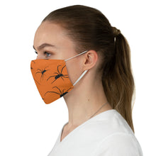 Load image into Gallery viewer, Orange With Spider Pattern Fabric Face Mask Printed Cloth Halloween Spiders Spooky