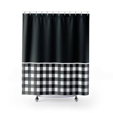 Load image into Gallery viewer, Black and White Buffalo Plaid Contrast Color Block Shower Curtain