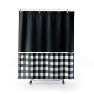 Black and White Buffalo Plaid Contrast Color Block Shower Curtain