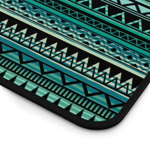 Turquoise, Tan and Black Ethnic Style Pattern Desk Mat