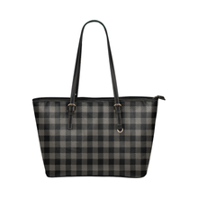 Load image into Gallery viewer, Grey Buffalo Plaid Tote Bag Vegan Leather