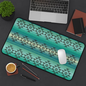 Serape Style Turquoise and Tan Desk Mat With Tribal Design Overlay Large