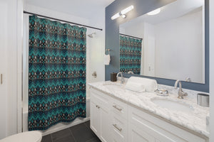 Teal Blue Ethnic Pattern Shower Curtain