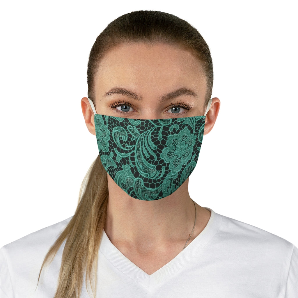 Turquoise Lace Style Printed Cloth Fabric Face Mask Lacey Shabby Chic
