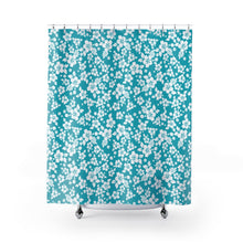 Load image into Gallery viewer, Teal Hibiscus Shower Curtain Hawaiian Pattern