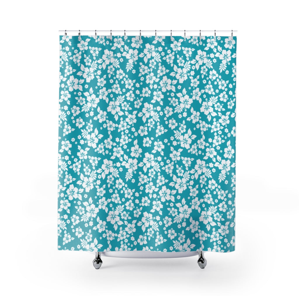 Teal Hibiscus Shower Curtain Hawaiian Pattern