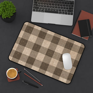 Brown Burlap Style Buffalo Plaid Printed Desk Mat