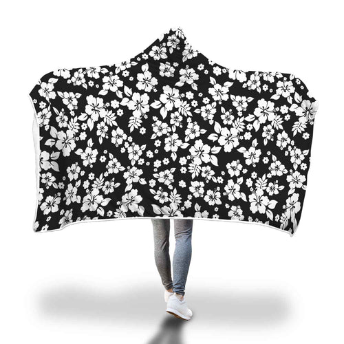 Black and White Hibiscus Hawaiian Flower Hooded Blanket