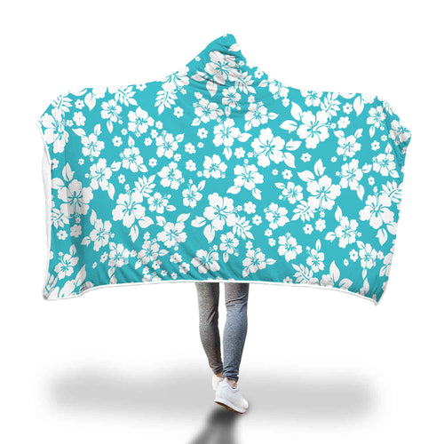 Teal and White Hibiscus Flower Hawaiian Pattern Hooded Blanket
