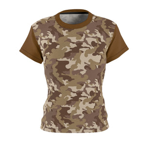 Camo Pattern Women's Tee Brown and Tan Desert Camouflage With Contrast Sleeves