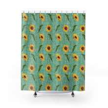 Load image into Gallery viewer, Green Burlap Design With Large Sunflower Pattern Bathroom Shower Curtain