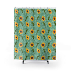 Green Burlap Design With Large Sunflower Pattern Bathroom Shower Curtain