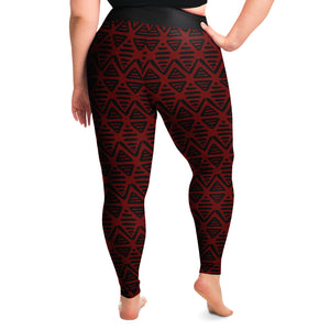 Red and Black Ethnic Pattern Aztec Boho Tribal Plus Size Leggings 2X-6X Squat Proof