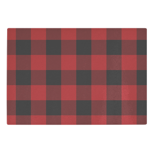 Red and Black Buffalo Plaid Tempered Glass Cutting Board