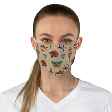 Load image into Gallery viewer, Tan With Traditional Tattoo Pattern Fabric Face Mask Printed Old School Style