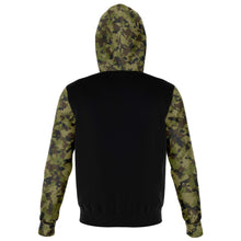 Load image into Gallery viewer, Camo and Black Contrast Hoodie With Green, Brown and Gray Camouflage Sleeves and Hood